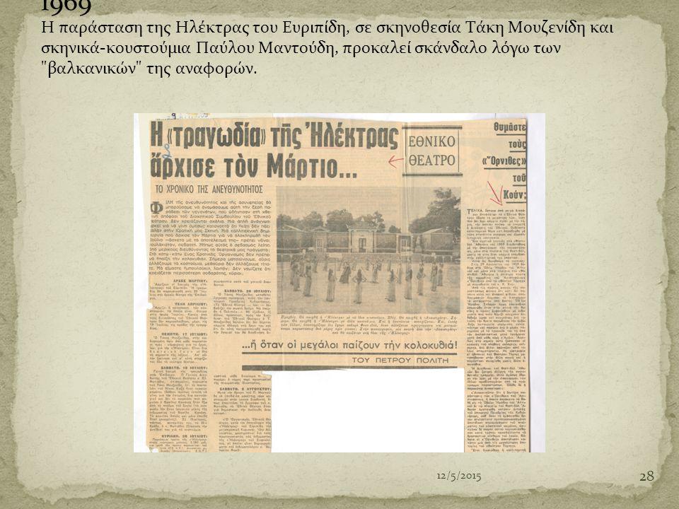1969 Η παράσταση της Ηλέκτρας του Ευριπίδη, σε σκηνοθεσία Τάκη Μουζενίδη και σκηνικά-κουστούμια Παύλου Μαντούδη, προκαλεί σκάνδαλο λόγω των βαλκανικών της αναφορών.