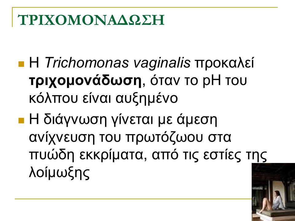 ΤΡΙΧΟΜΟΝΑΔΩΣΗ Η Trichomonas vaginalis προκαλεί τριχομονάδωση, όταν το pH του κόλπου είναι αυξημένο.