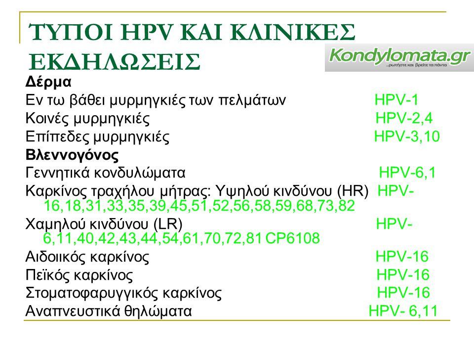 ΤYΠΟΙ HPV ΚΑΙ ΚΛΙΝΙΚEΣ ΕΚΔΗΛΩΣΕΙΣ