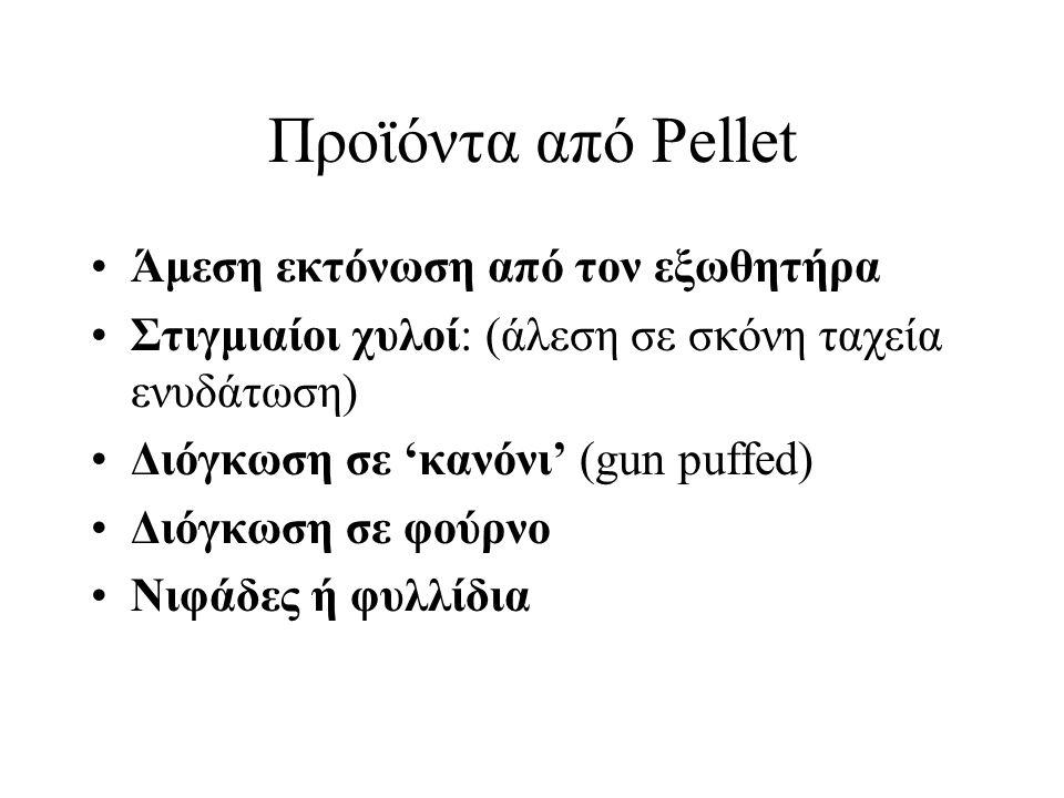 Προϊόντα από Pellet Άμεση εκτόνωση από τον εξωθητήρα