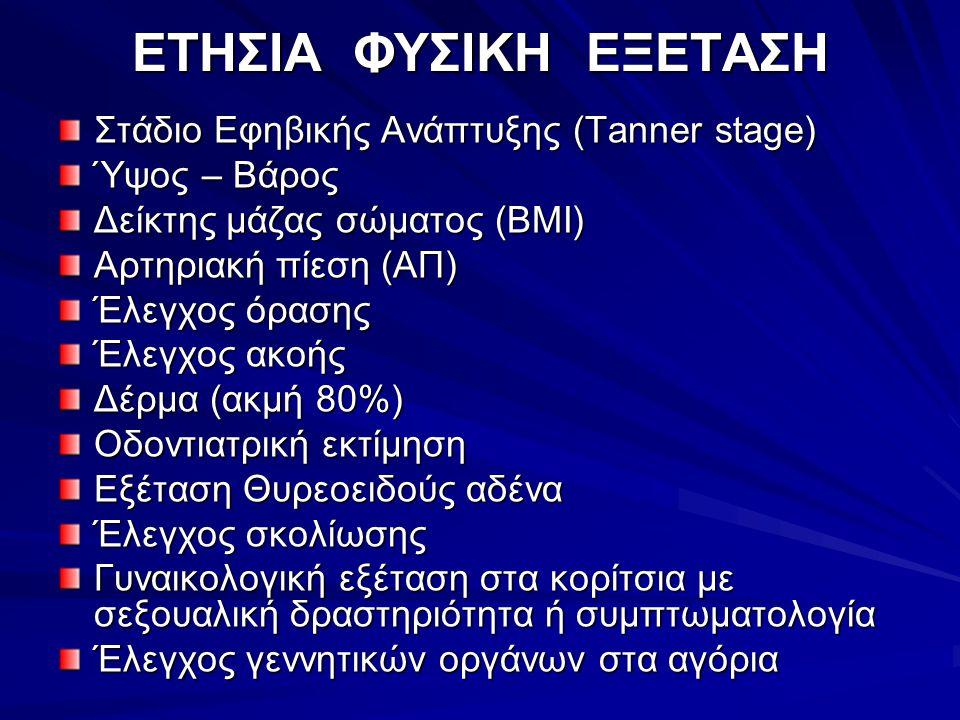 ΕΤΗΣΙΑ ΦΥΣΙΚΗ ΕΞΕΤΑΣΗ Στάδιο Εφηβικής Ανάπτυξης (Τanner stage)