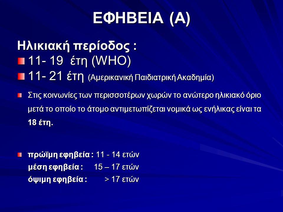 ΕΦΗΒΕΙΑ (Α) Ηλικιακή περίοδος : 11- 19 έτη (WHO)