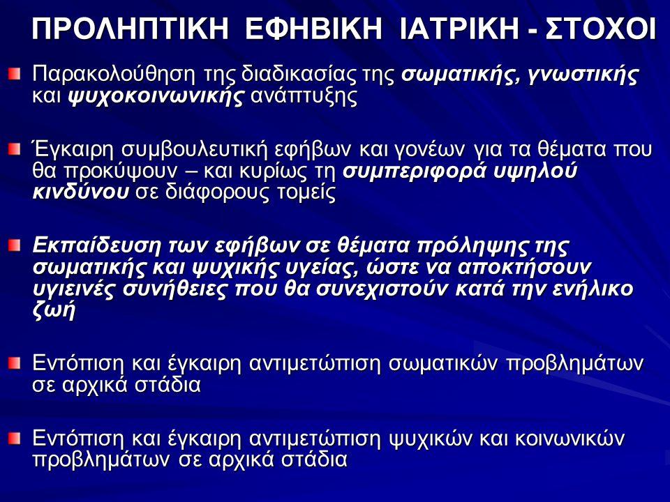 ΠΡΟΛΗΠΤΙΚΗ ΕΦΗΒΙΚΗ ΙΑΤΡΙΚΗ - ΣΤΟΧΟΙ
