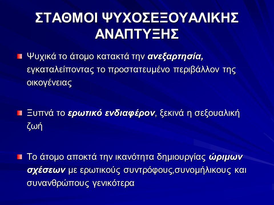 ΣΤΑΘΜΟΙ ΨΥΧΟΣΕΞΟΥΑΛΙΚΗΣ ΑΝΑΠΤΥΞΗΣ