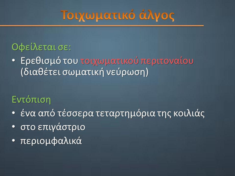 Τοιχωματικό άλγος Οφείλεται σε: