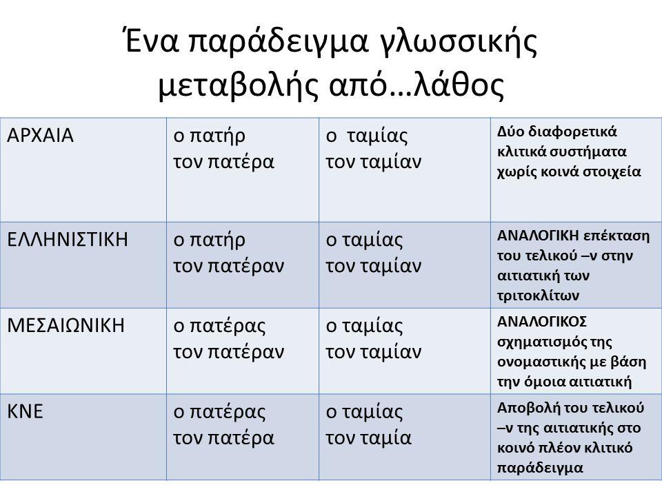 Ένα παράδειγμα γλωσσικής μεταβολής από…λάθος