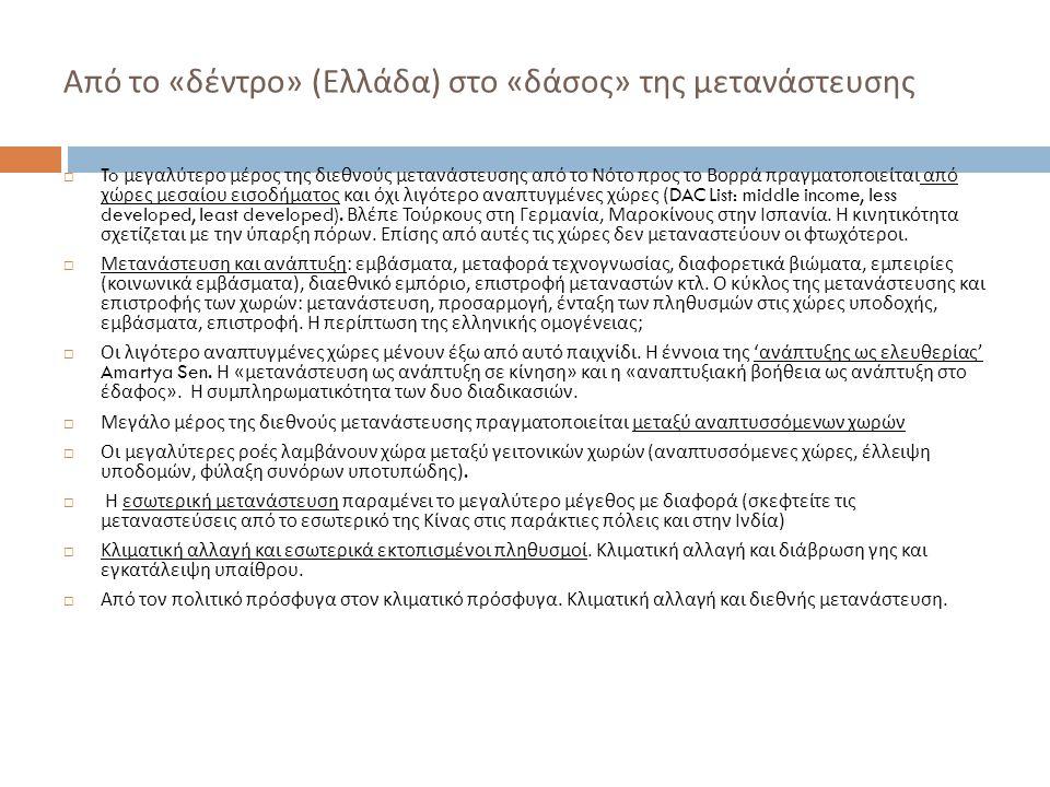 Από το «δέντρο» (Ελλάδα) στο «δάσος» της μετανάστευσης