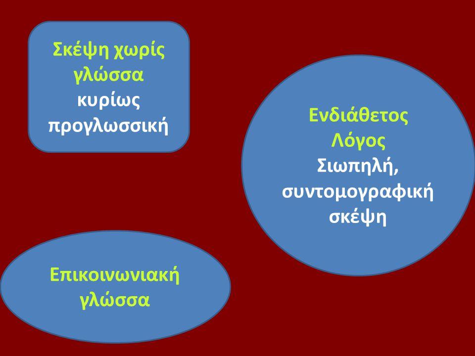Σκέψη χωρίς γλώσσα κυρίως προγλωσσική. Ενδιάθετος Λόγος.