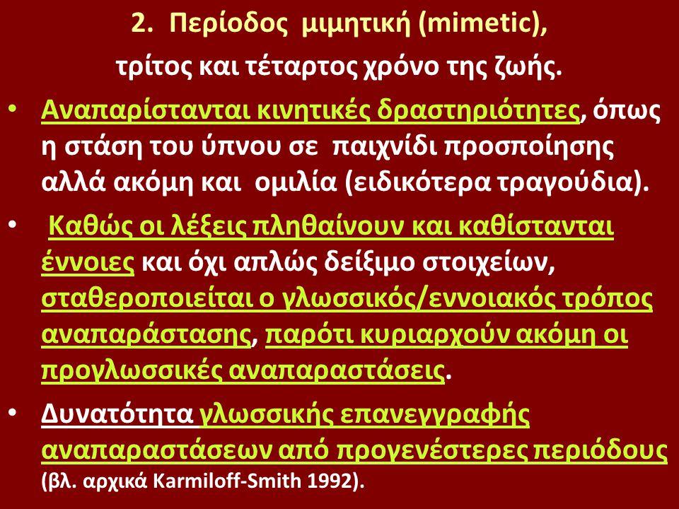 Περίοδος μιμητική (mimetic), τρίτος και τέταρτος χρόνο της ζωής.