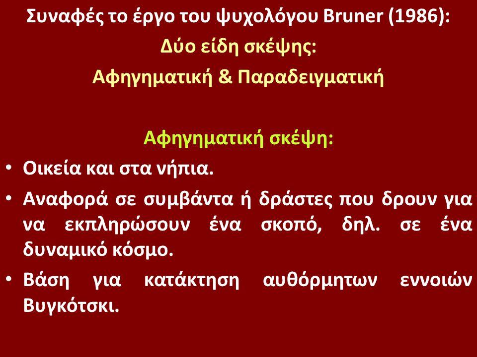 Συναφές το έργο του ψυχολόγου Bruner (1986): Δύο είδη σκέψης: