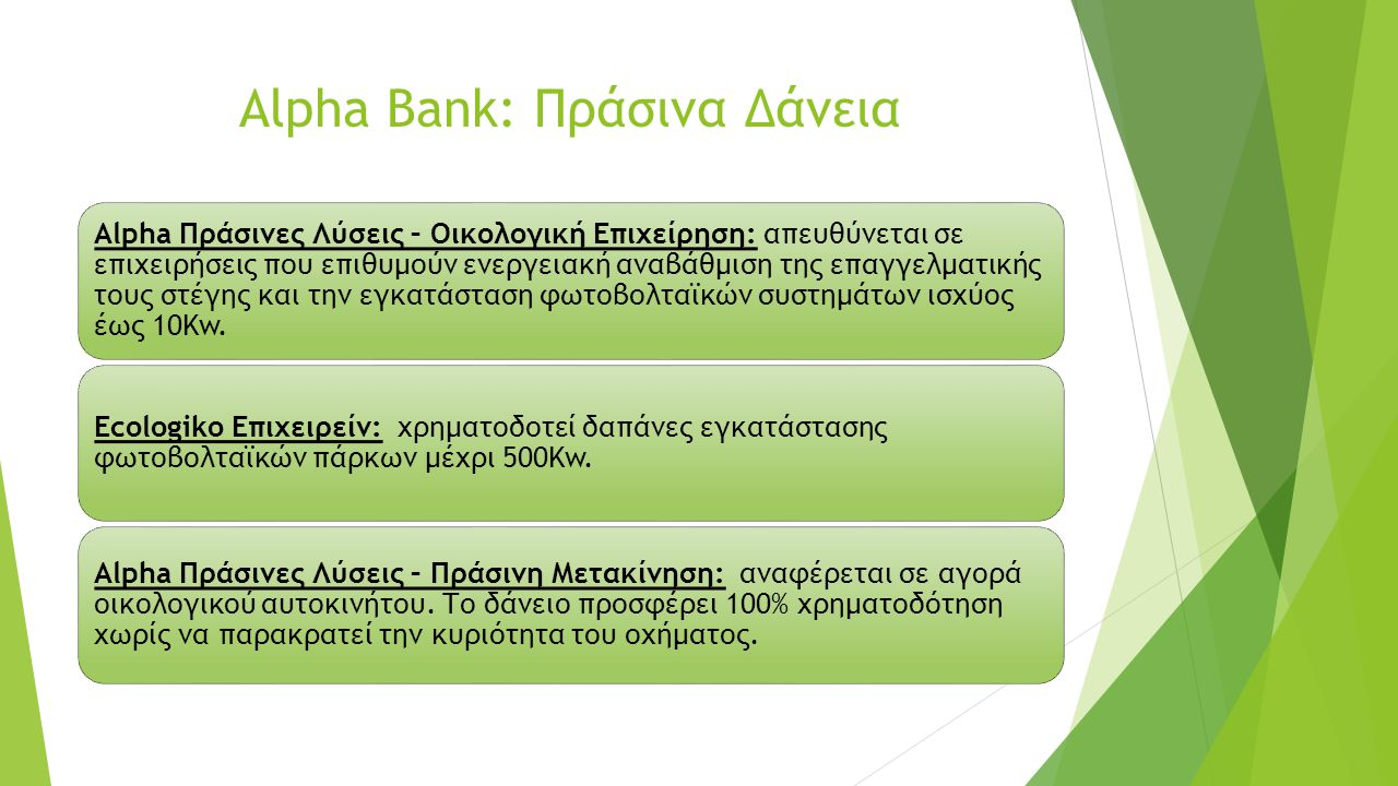 Alpha Bank: Πράσινα Δάνεια