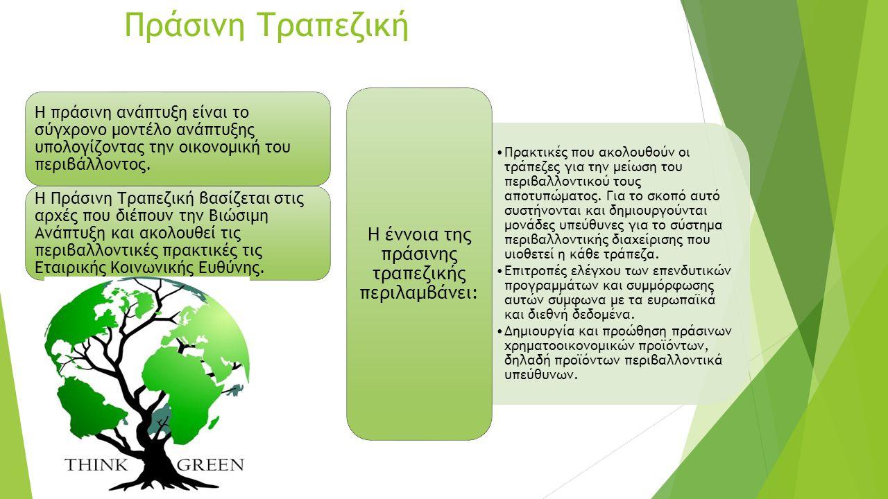 Η έννοια της πράσινης τραπεζικής περιλαμβάνει: