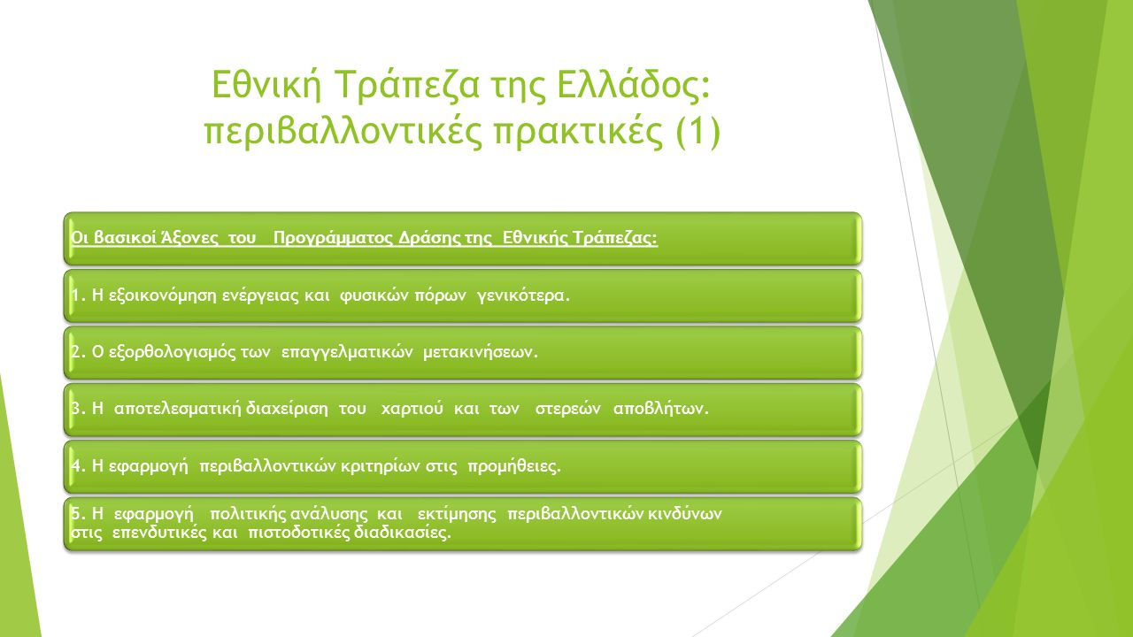 Εθνική Τράπεζα της Ελλάδος: περιβαλλοντικές πρακτικές (1)