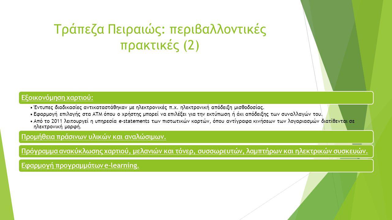 Τράπεζα Πειραιώς: περιβαλλοντικές πρακτικές (2)