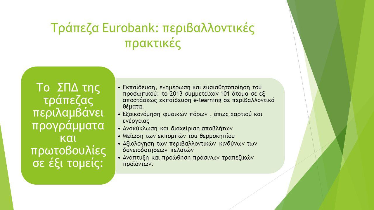 Τράπεζα Eurobank: περιβαλλοντικές πρακτικές