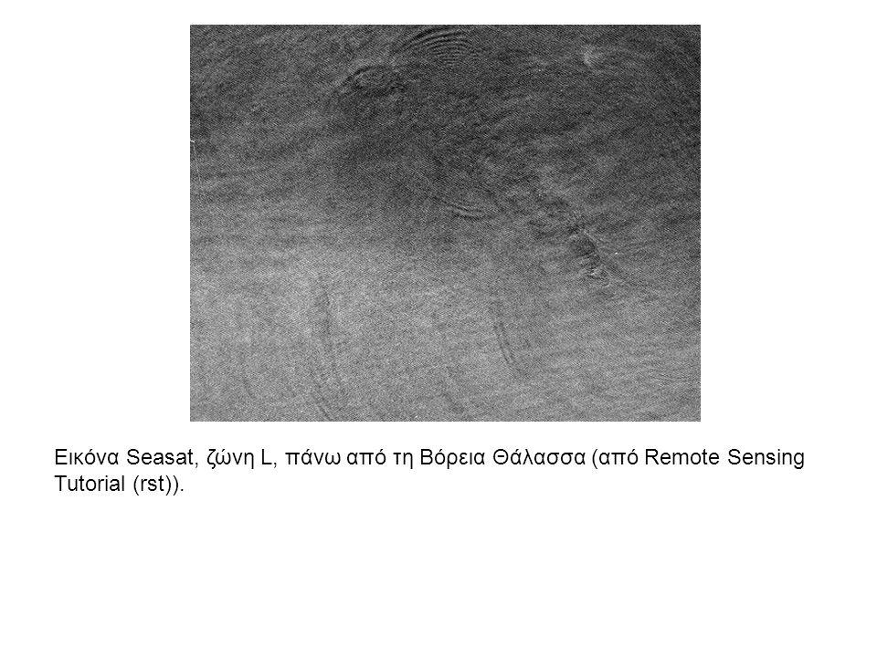 Εικόνα Seasat, ζώνη L, πάνω από τη Βόρεια Θάλασσα (από Remote Sensing Tutorial (rst)).