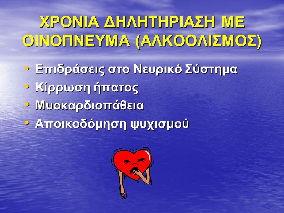 ΧΡΟΝΙΑ ΔΗΛΗΤΗΡΙΑΣΗ ΜΕ ΟΙΝΟΠΝΕΥΜΑ (ΑΛΚΟΟΛΙΣΜΟΣ)