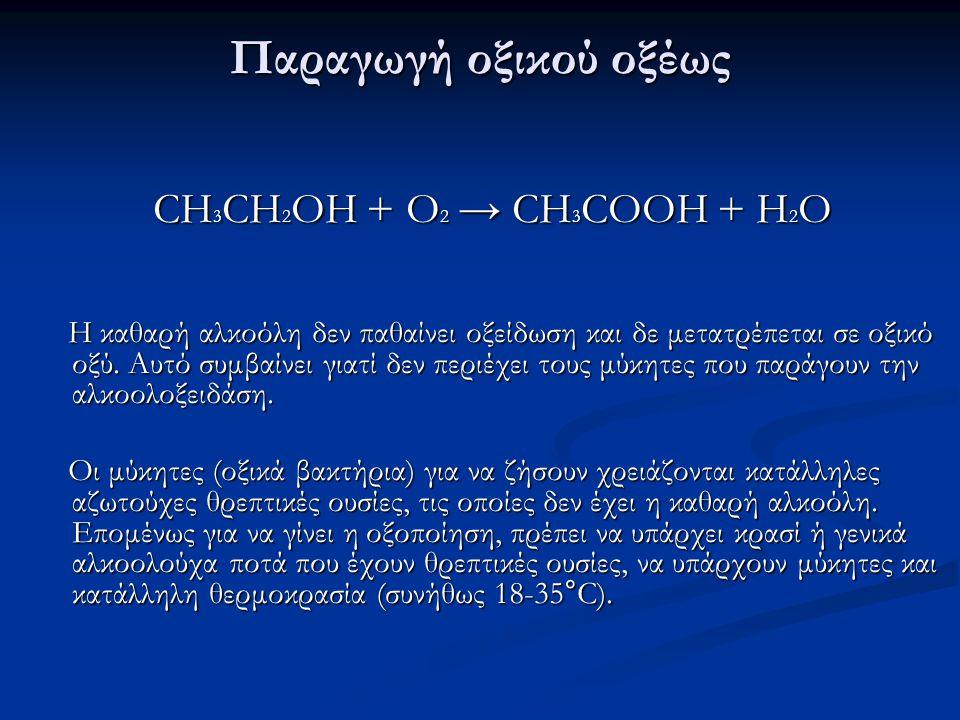 Παραγωγή οξικού οξέως CH3CH2OH + O2 → CH3COOH + H2O