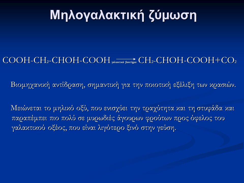 Μηλογαλακτική ζύμωση COOH-CH2-CHOH-COOH γαλακτικά βακτήρια CH2-CHOH-COOH+CO2. Βιομηχανική αντίδραση, σημαντική για την ποιοτική εξέλιξη των κρασιών.