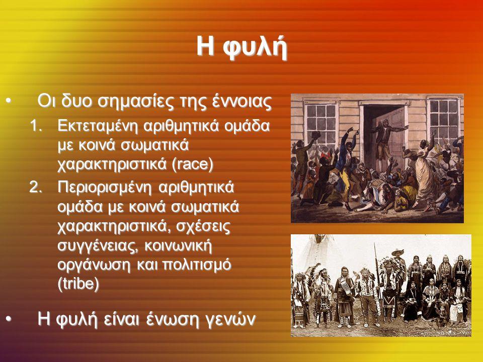 Η φυλή Οι δυο σημασίες της έννοιας Η φυλή είναι ένωση γενών
