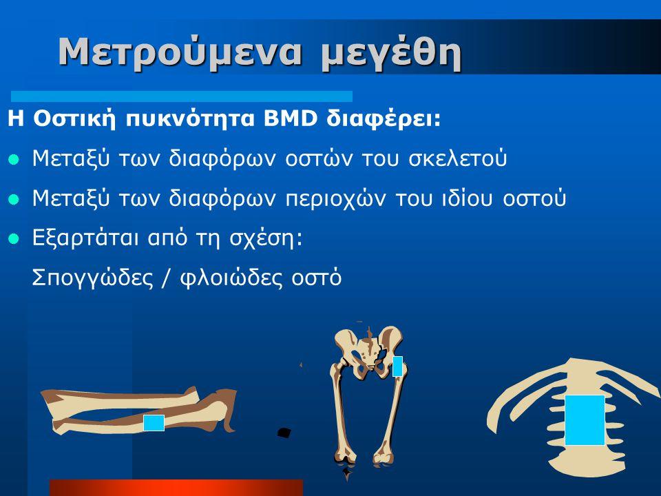 Μετρούμενα μεγέθη H Οστική πυκνότητα BMD διαφέρει: