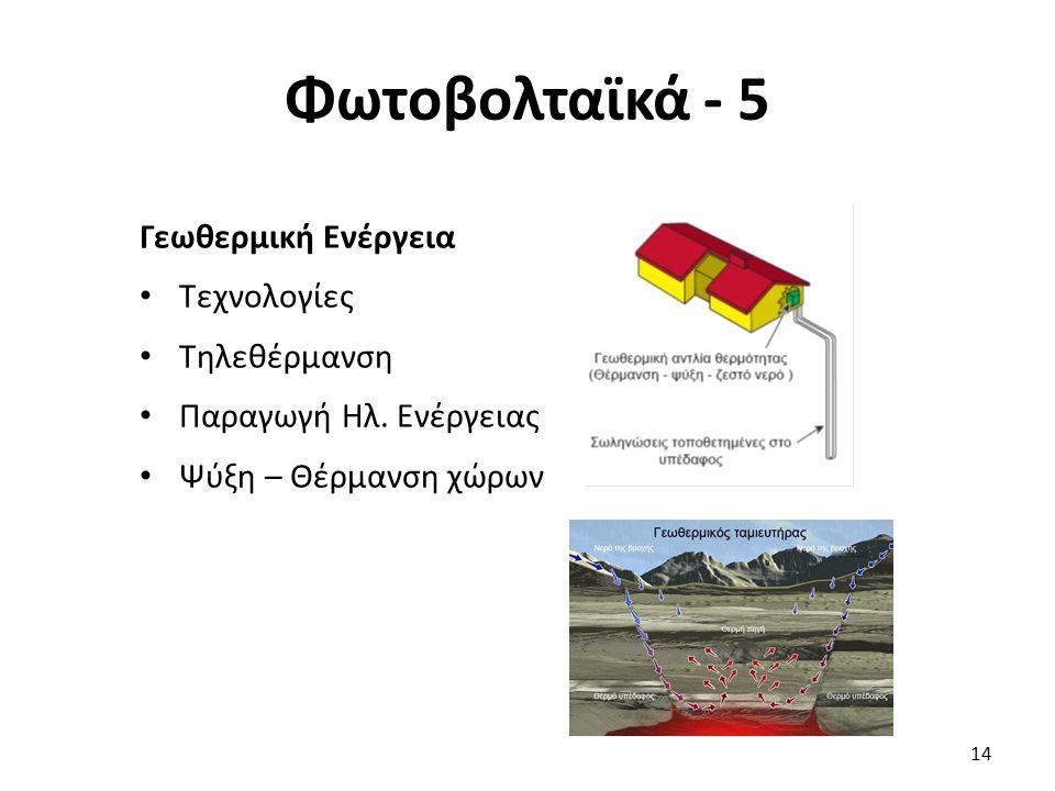 Φωτοβολταϊκά - 5 Γεωθερμική Ενέργεια Τεχνολογίες Τηλεθέρμανση