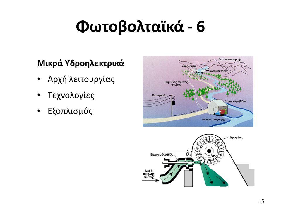 Φωτοβολταϊκά - 6 Μικρά Υδροηλεκτρικά Αρχή λειτουργίας Τεχνολογίες