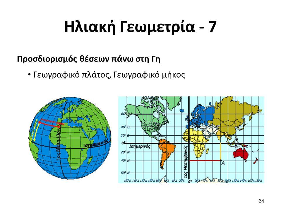 Ηλιακή Γεωμετρία - 7 Προσδιορισμός θέσεων πάνω στη Γη