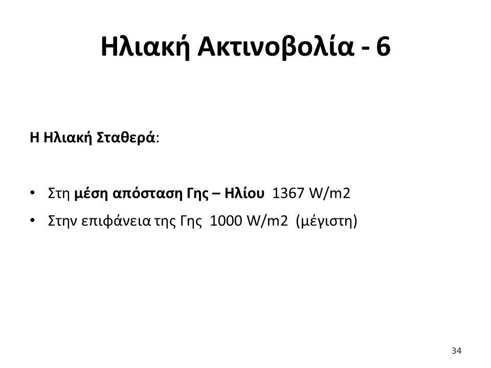 Ηλιακή Ακτινοβολία - 6 Η Ηλιακή Σταθερά: