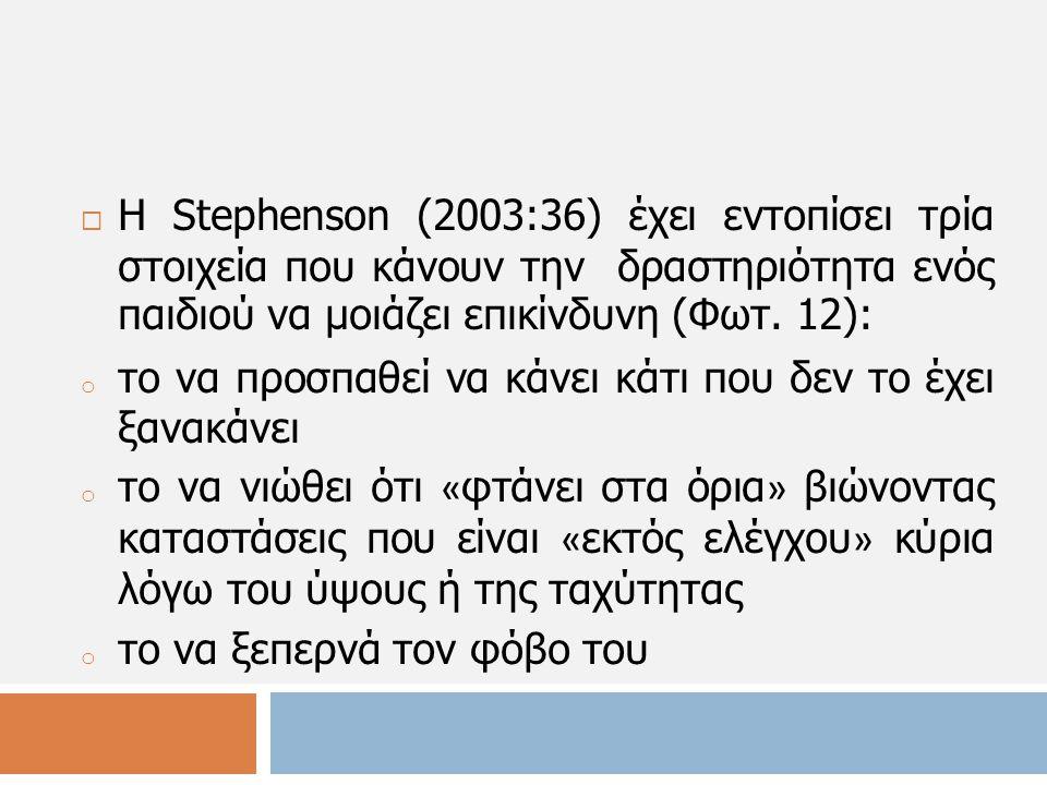 Η Stephenson (2003:36) έχει εντοπίσει τρία στοιχεία που κάνουν την δραστηριότητα ενός παιδιού να μοιάζει επικίνδυνη (Φωτ. 12):
