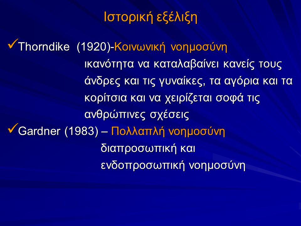 Ιστορική εξέλιξη Thorndike (1920)-Κοινωνική νοημοσύνη