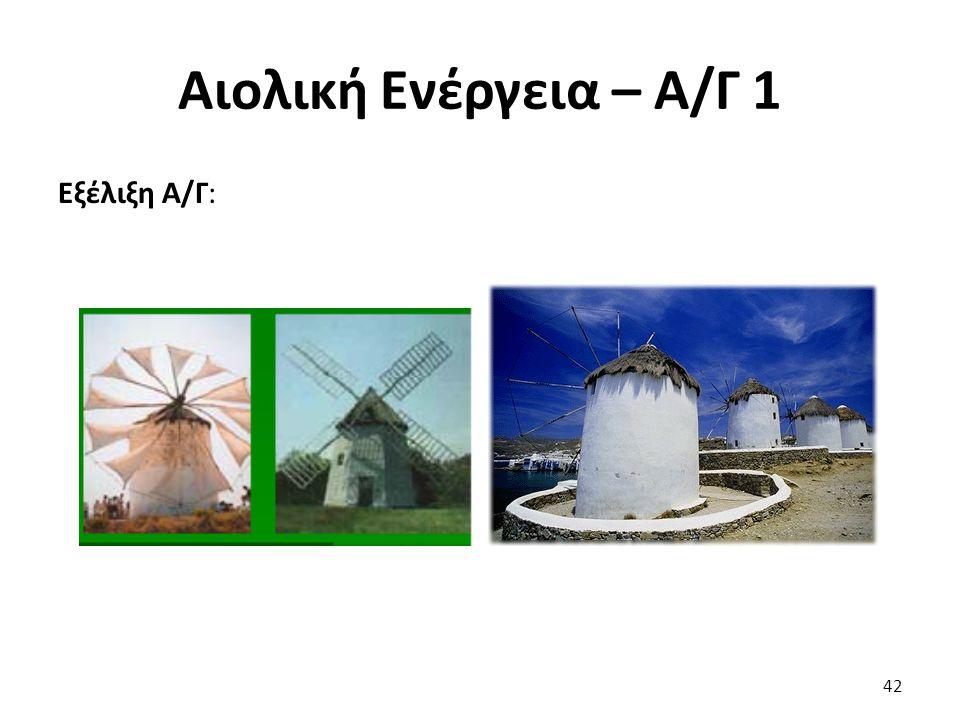 Αιολική Ενέργεια – Α/Γ 1 Εξέλιξη Α/Γ: