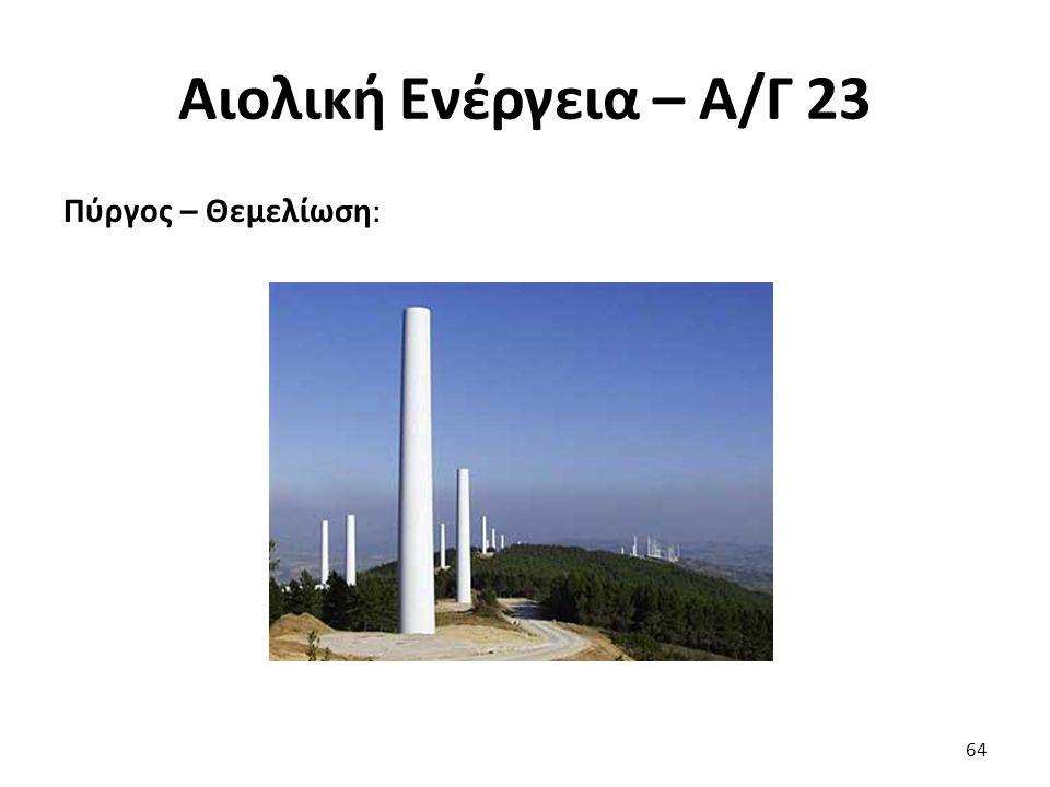 Αιολική Ενέργεια – Α/Γ 23 Πύργος – Θεμελίωση: