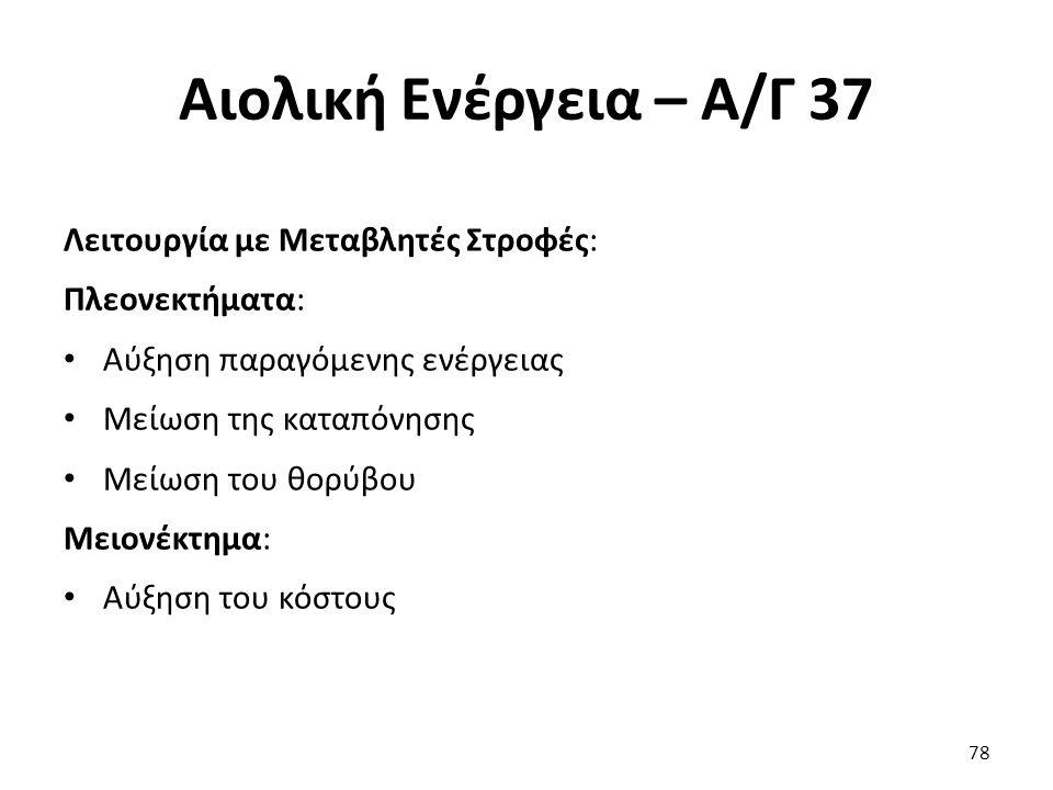 Αιολική Ενέργεια – Α/Γ 37 Λειτουργία με Μεταβλητές Στροφές: