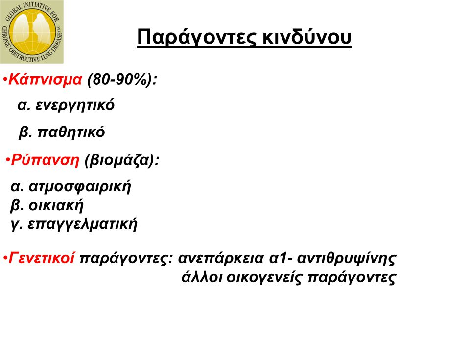 Παράγοντες κινδύνου Κάπνισμα (80-90%): α. ενεργητικό β. παθητικό