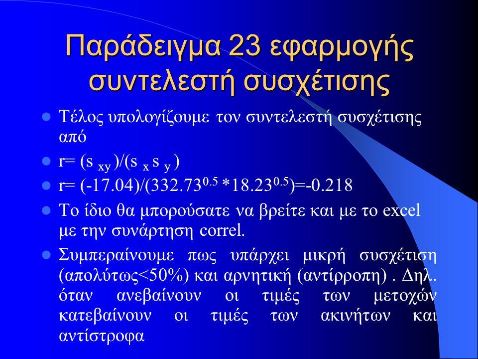 Παράδειγμα 23 εφαρμογής συντελεστή συσχέτισης