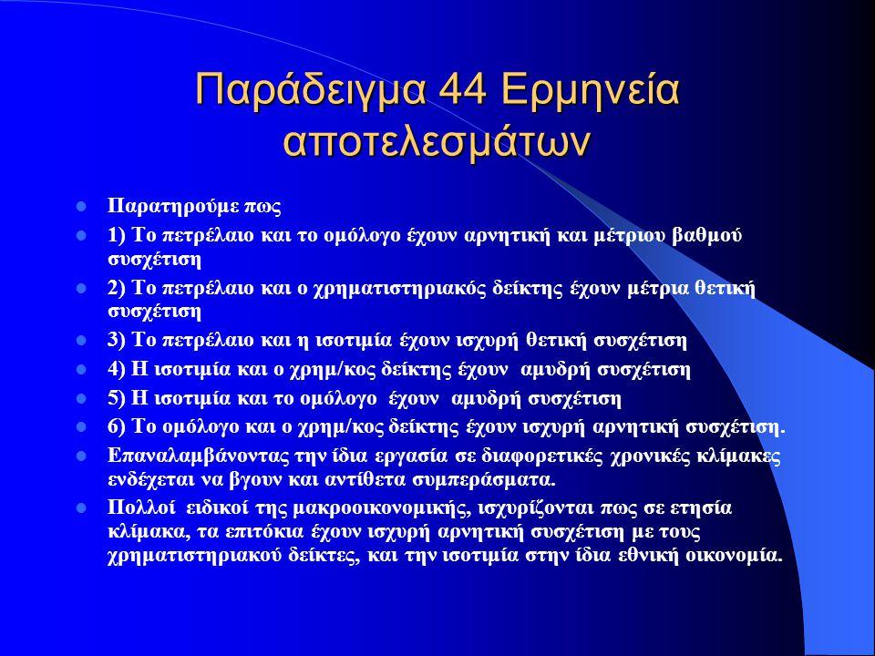 Παράδειγμα 44 Ερμηνεία αποτελεσμάτων