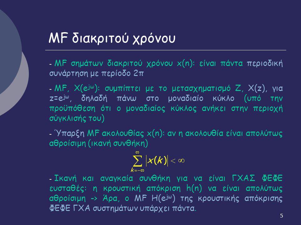 MF διακριτού χρόνου MF σημάτων διακριτού χρόνου x(n): είναι πάντα περιοδική συνάρτηση με περίοδο 2π.