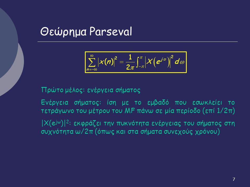 Θεώρημα Parseval Πρώτο μέλος: ενέργεια σήματος