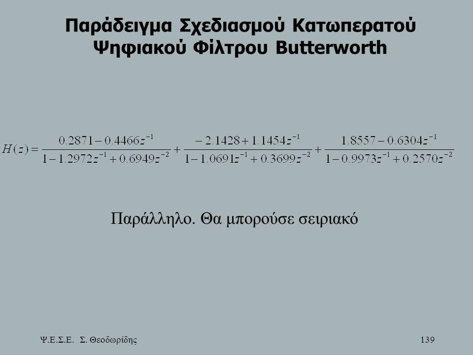 Παράδειγμα Σχεδιασμού Κατωπερατού Ψηφιακού Φίλτρου Butterworth