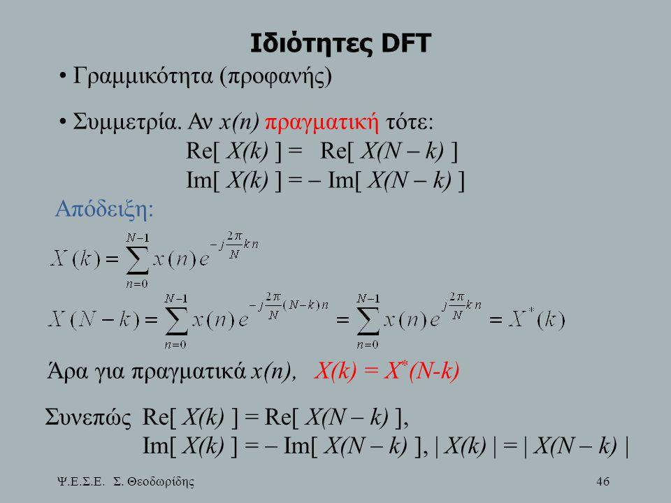 Ιδιότητες DFT Γραμμικότητα (προφανής)