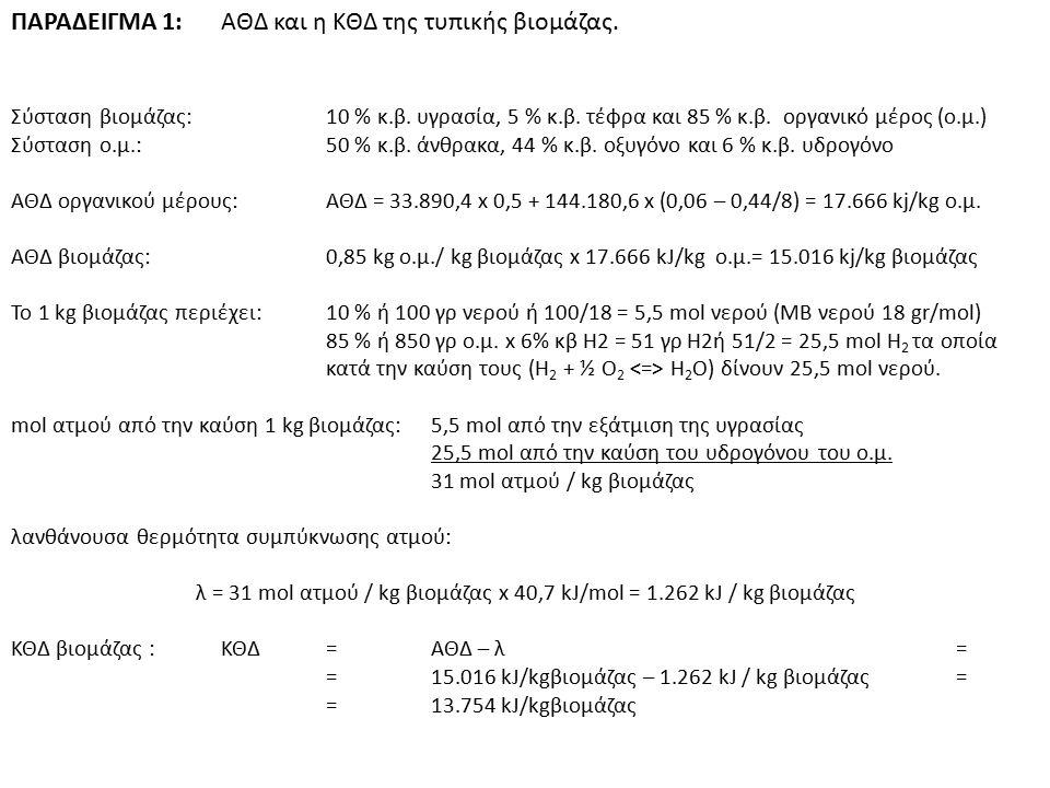 λ = 31 mol ατμού / kg βιομάζας x 40,7 kJ/mol = 1.262 kJ / kg βιομάζας