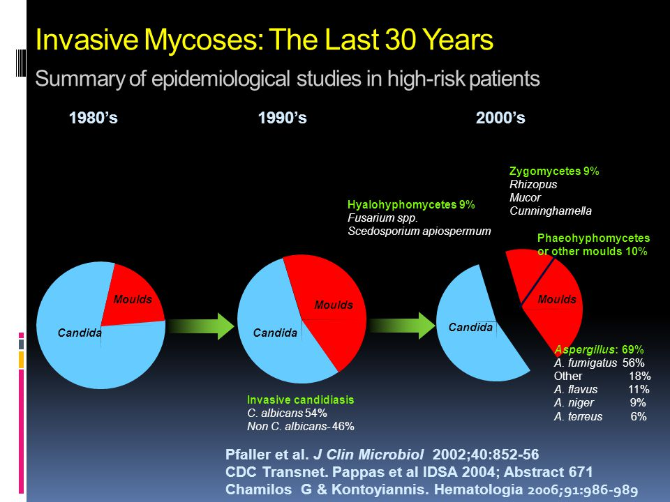 Invasive Mycoses: The Last 30 Years Summary of epidemiological studies in high-risk patients
