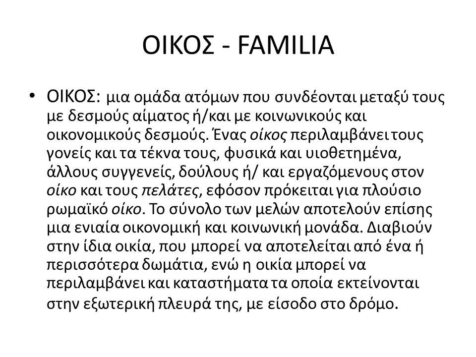 ΟΙΚΟΣ - FAMILIA