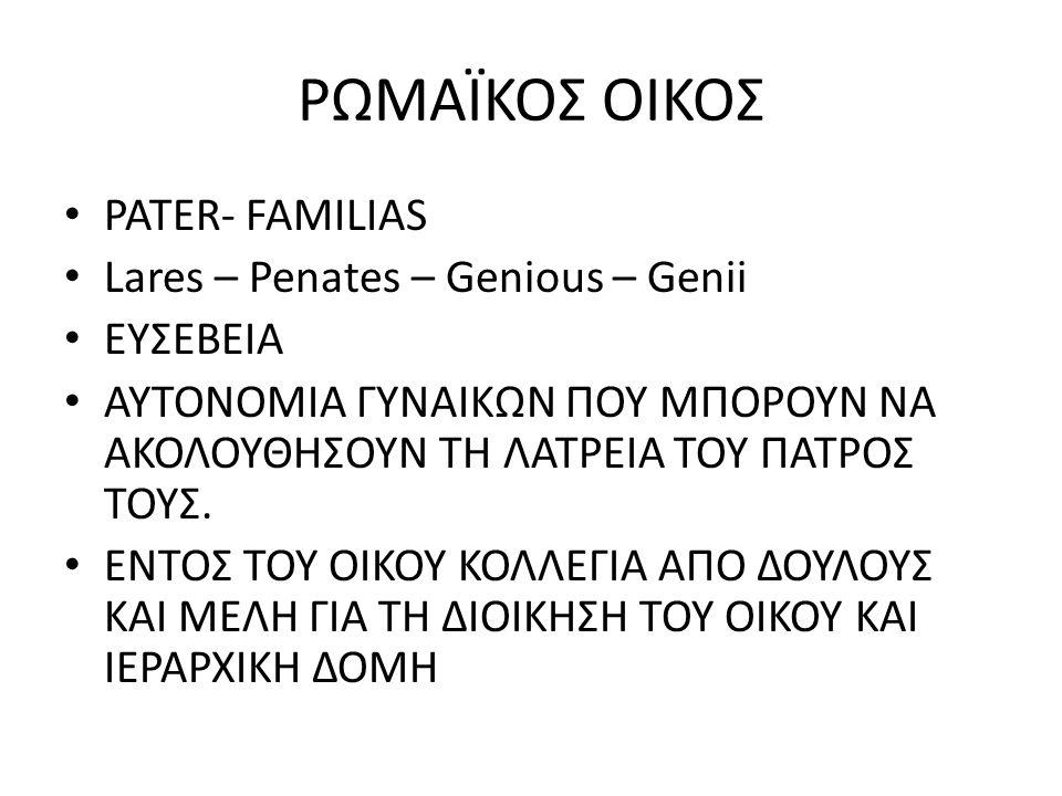ΡΩΜΑΪΚΟΣ ΟΙΚΟΣ PATER- FAMILIAS Lares – Penates – Genious – Genii