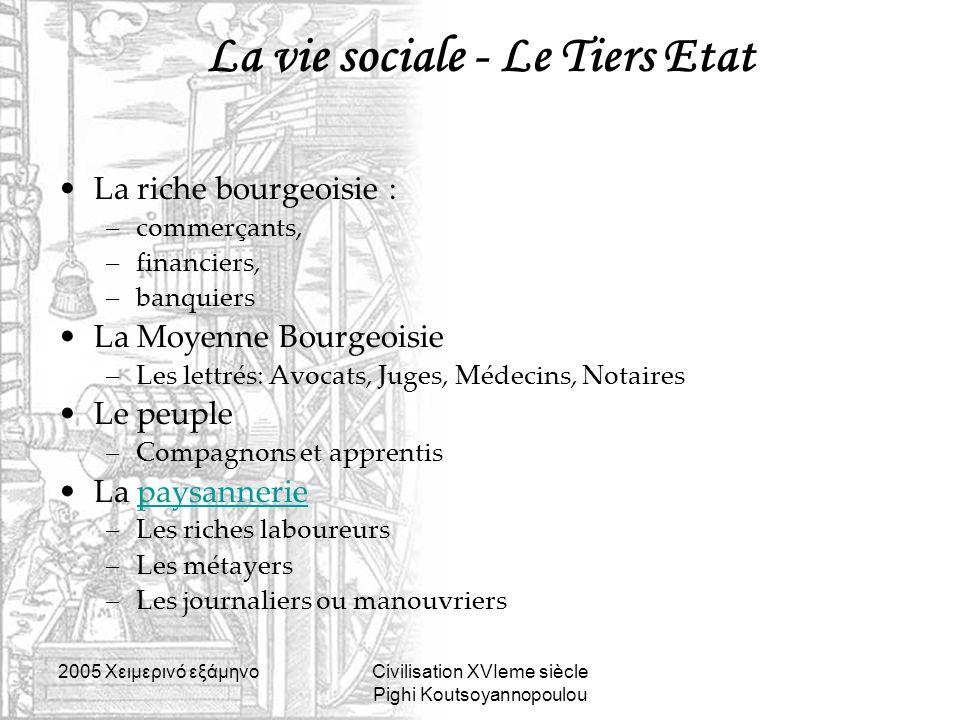 La vie sociale - Le Tiers Etat