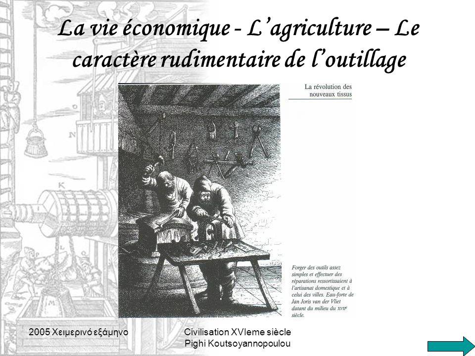 La vie économique - L'agriculture – Le caractère rudimentaire de l'outillage