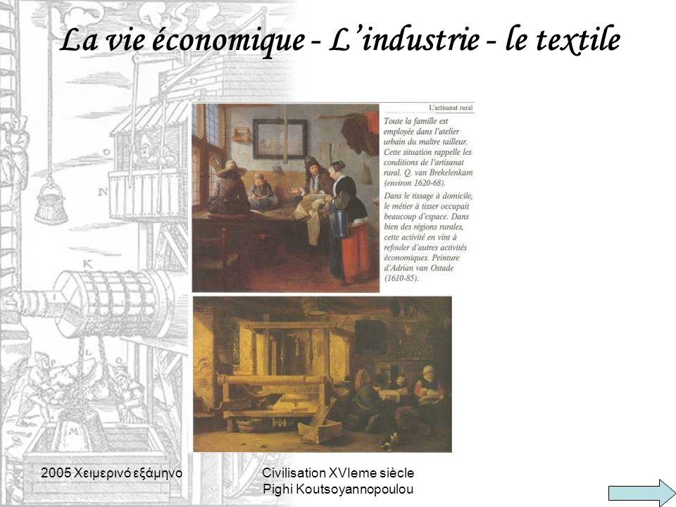 La vie économique - L'industrie - le textile