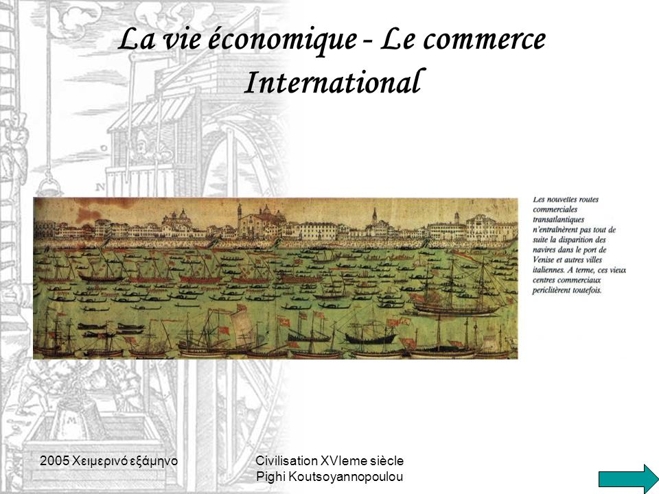 La vie économique - Le commerce International