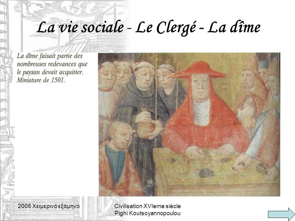 La vie sociale - Le Clergé - La dîme